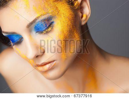 fashion makeup, closeup studio shot