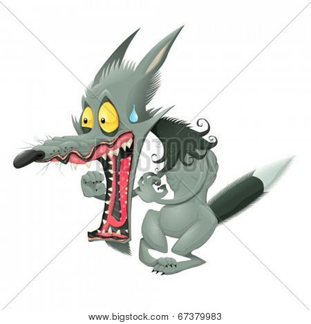 Funny wolf. Vector cartoon isolated character.