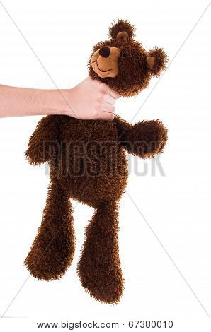strangling brown teddy bear