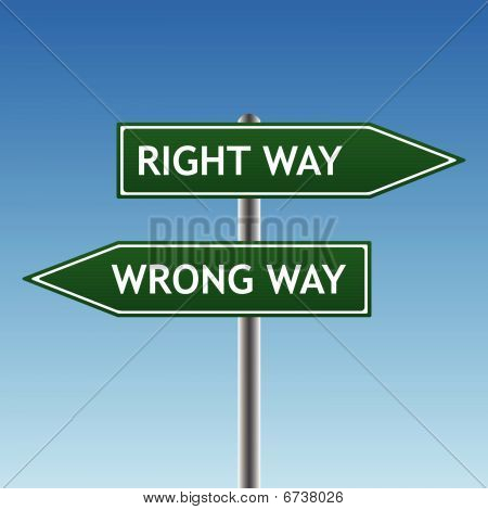 right and wrong way sign (vector)