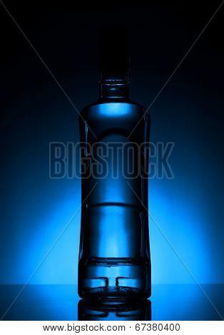 Bottle Of Vodka Lit With Blue Backlight
