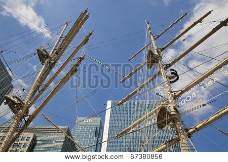 LONDON, UK - MAY 17, 2014: Old British ship based in Canary Wharf dock