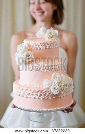 Wedding Cake In Bride's Hands