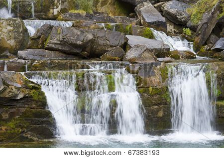 Little waterfall in Ordesa National Park, Pyrenees, Huesca, Aragon, Spain