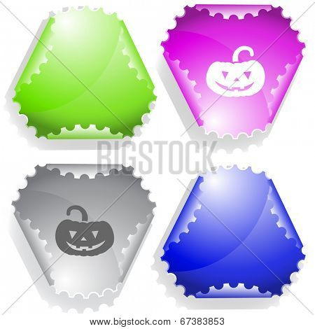 Pumpkin. Vector sticker.