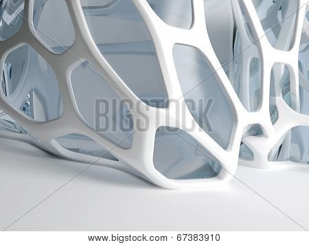 3d rendering of modern abstract grid structure