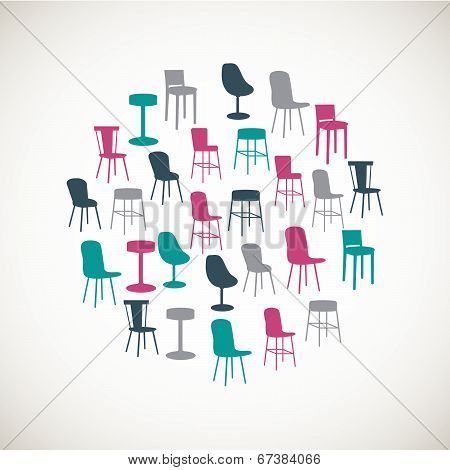 Colorful furniture icons - chairs