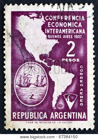 Postage Stamp Argentina 1957 Map Of Americas