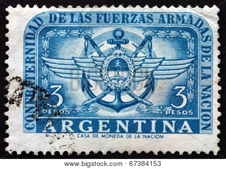 Postage Stamp Argentina 1955 Army, Navy And Air Force Emblems