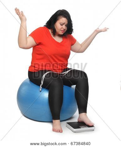 Overweight woman solving nutrition problem.