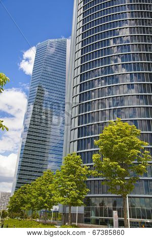 MADRID, SPAIN - MAY 28, 2014: Madrid city, business centre, modern skyscrapers, Cuatro Torres 250 me
