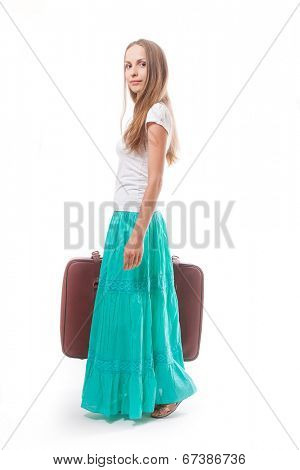 woman going with heavy suitcase, isolated on white background