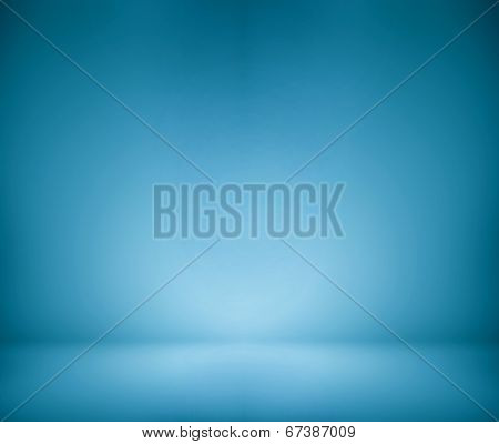 Abstract illustration background texture of beauty dark and light blue, azure, cyan, turquoise gradient wall and flat floor in empty spacious darken room interior