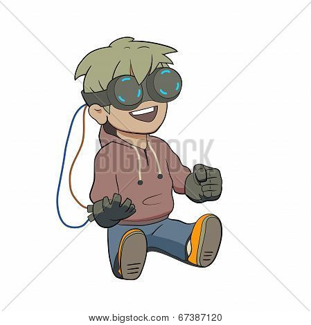 Chibi kid with Virtual reality glasses