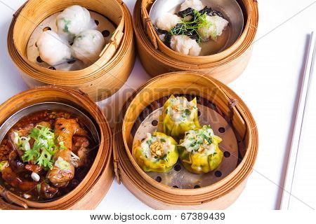 Various Dim Sum In Bamboo Steamed Bowl