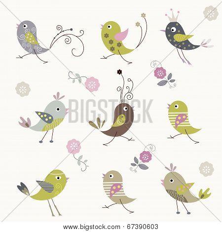 Cartoon bird background design