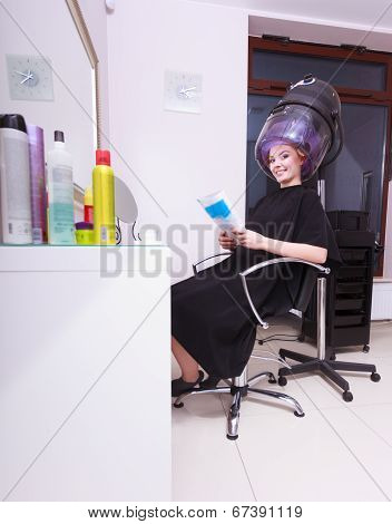 Woman Hair Rollers Curlers Reading Magazine Hairdryer Beauty Salon