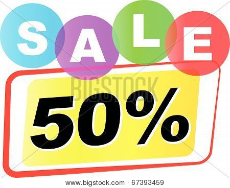 Vector Fifty Percent Sale Icon