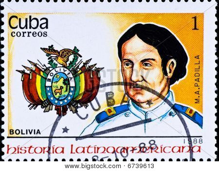 Postage Stamp Shows Bolivia Chief M. A. Padilla