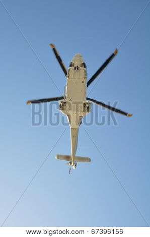 helicopter landing on an offshore oil-plant , service travel to oil and gas platform in offshore
