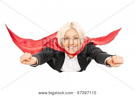 Blond female superhero flying isolated on white background