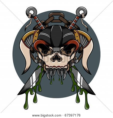 Skull demon hardcore illustration with weapon and another detail for tattoo and shirt