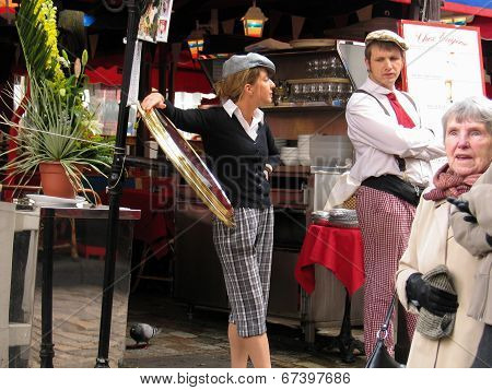 Paris, France - May 31, 2006: French Vintage Uniformed Young Touts At Montmartre Cafe On May 31, 200