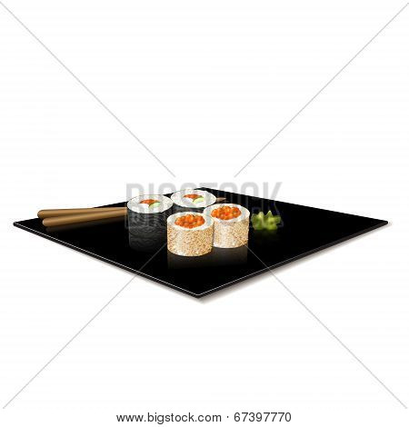 Japanese Cuisine: Sushi On A Plate With Reflection