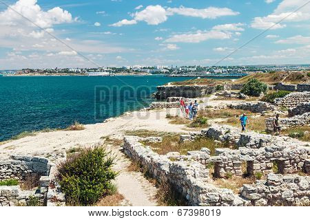Visiting Tourists Ancient Ruins Of The Ancient City Of Chersonesos