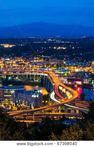 Portland Freeway At Night