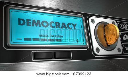 Democracy on Display of Vending Machine.