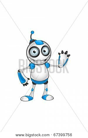 White & Blue Robot Character