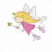 pic of magic-wand  - Cute little fairy with magic wand - JPG