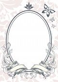 picture of oval  - Vector illustration of ornate oval shaped mirror - JPG