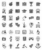 stock photo of science  - Set of dark silhouette icons of school subjects - JPG