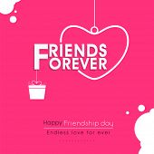 stock photo of  friends forever  - Stylish text Friends Forever with hanging heart and gift box on pink background for Happy Friendship Day celebrations - JPG