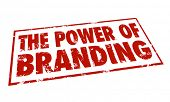 image of loyalty  - The Power of Branding words in a red stamp to illustrate loyalty - JPG