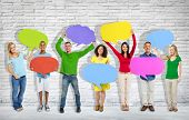 stock photo of arms race  - Group of mixed age and race people with colorful thoughts - JPG