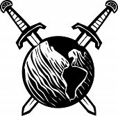 stock photo of impaler  - Woodcut style image of the earth impaled with two crossed swords - JPG