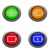 picture of status  - digital drawing of 4 buttons with different battery statuses - JPG