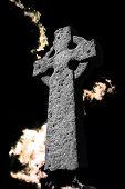 Celtic Cross On Black Sky