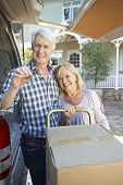 stock photo of moving van  - Senior couple moving house - JPG