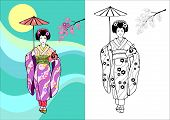foto of geisha  - Japanese girl geisha with umbrella on a background of the Sun and branches of sakura - JPG
