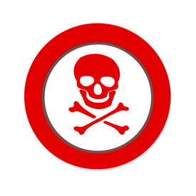 stock photo of skull crossbones  - Red prohibition NO PIRATE sign with skull and crossbones on white background - JPG