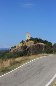 picture of apennines  - ancient watch tower in Rossena Apennines Italy