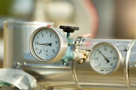 foto of barometer  - Close up of barometer in natural gas production industry - JPG