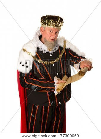 Senior king making an announcement holding a parchment scroll