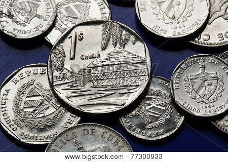 Coins of Cuba. Guama municipality in Chivirico, Cuba, depicted in the Cuban one convertible peso (CUC).