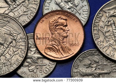 Coins of USA. Abraham Lincoln depicted on the US one cent coin.
