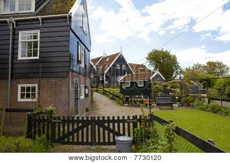 Typical Dutch Houses In Village Marken, The Netherlands